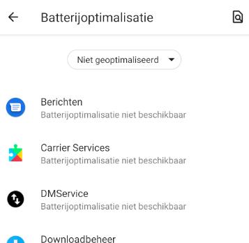 Niet geoptimaliseerde apps